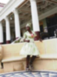 Vintage Flair Green Leafs Silk Dress | Anabasua Getty Villa