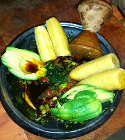 Spinach Stew Plantain Avocado
