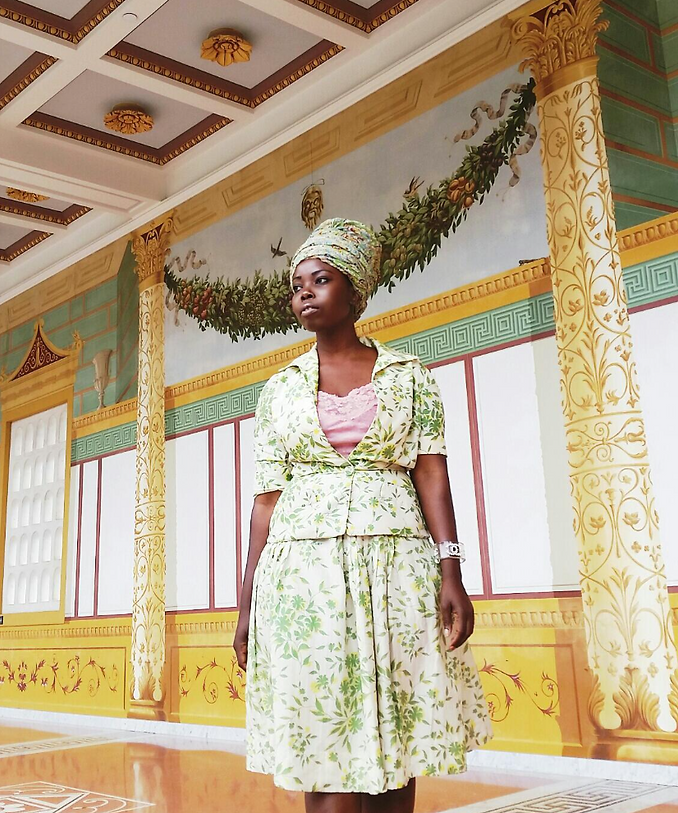 Floral Vintage Skirt Outfit Style Headwrap Getty Villa | Anabasua