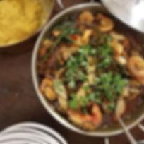 Seafood Okra Eggplant Stew with Akple-Po