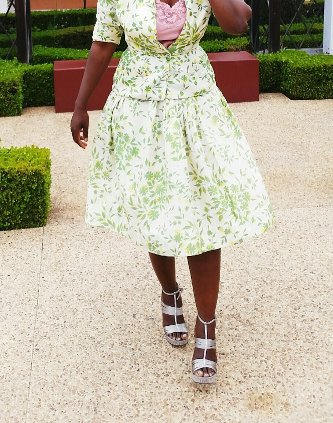 Vintage Silk Green Leaf Flair Skirt | Style Stylish Anabasua