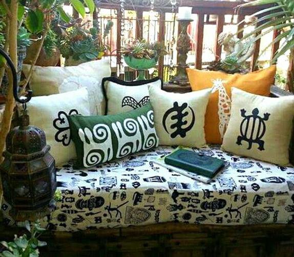 African Safari Adinkra Symbols Linen Pillows Cover | Home And Garden Anabasua