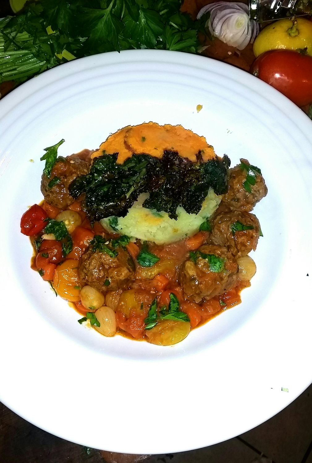 Moroccan Meatballs Sweet Potato Kale