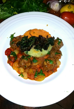 Moroccan Meatballs Sweet Potato Kale