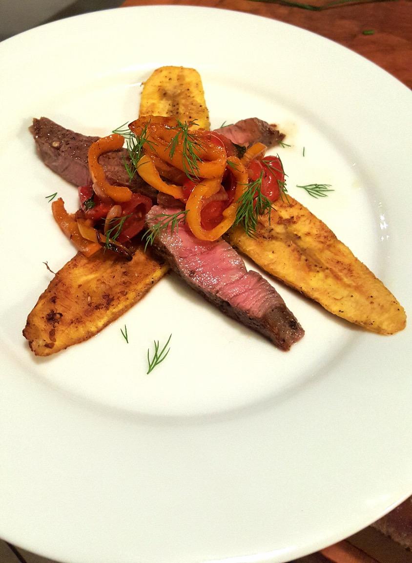 Steak Plantain Sautéed Peppers