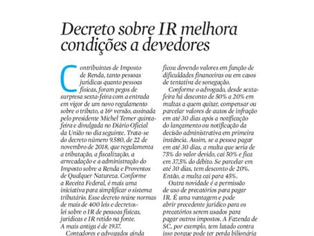 Decreto sobre IR melhora condições a devedores