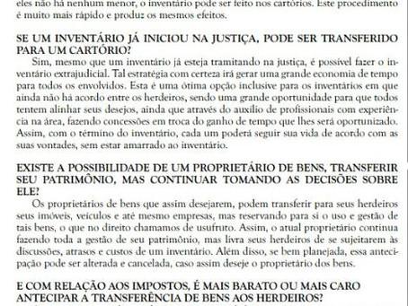 Entrevista sobre inventários, heranças e sucessões empresariais, ao Jornal Palanque, da Serra de SC.