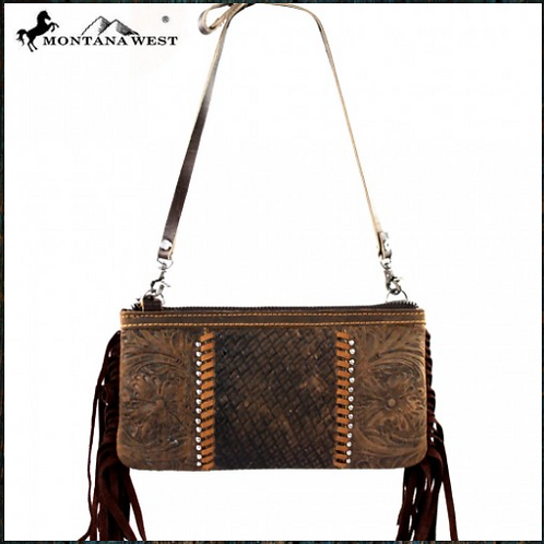 Montana West 100% Real Leather Clutch
