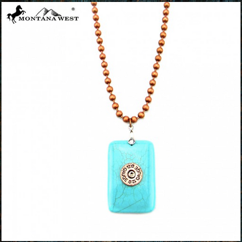 Ball Chain Necklace with Turquoise Gauge Pendant