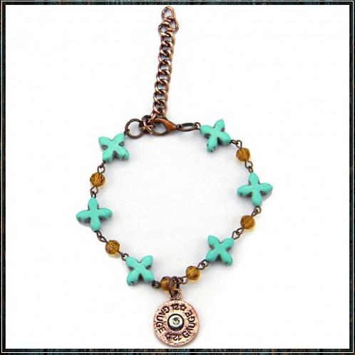 Turquoise Beads & Crystal Linked Bracelet