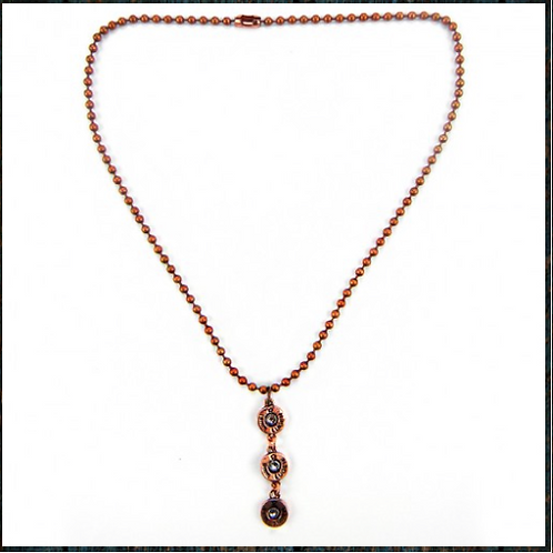 Copper Three 8mm Luger Bullet Charm Necklace