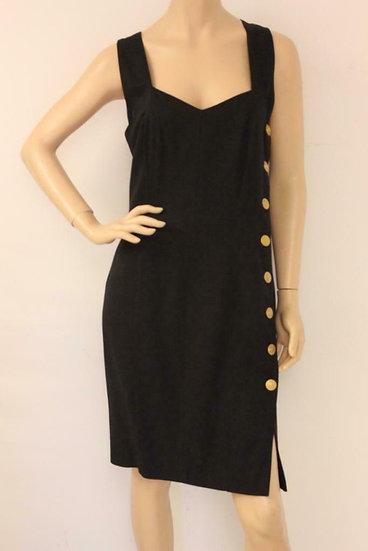 Mondi - Zwart jurkje met gouden knopen, maat 42