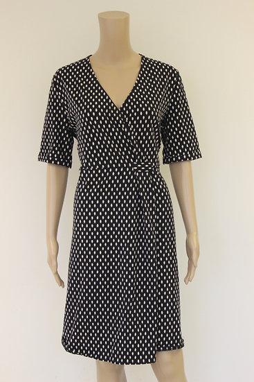 Bloomings - Donkerblauw gestipte jurk, maat 42/44