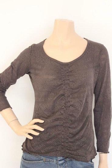 Morgan de Tol - Bruin kanten elastisch T-shirt, maat 38/40