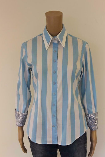 R2 Westbrook - Blauw/wit gestreepte blouse, maat 38