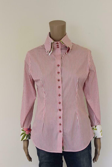 R2 Westbrook - Roze/wit gestreepte blouse, maat 40