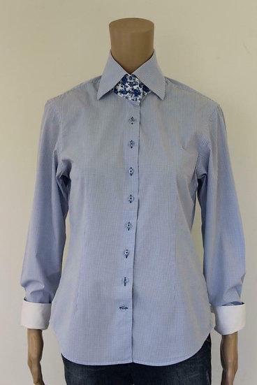R2 Westbrook - Lichtblauw/wit geruite blouse, maat 40