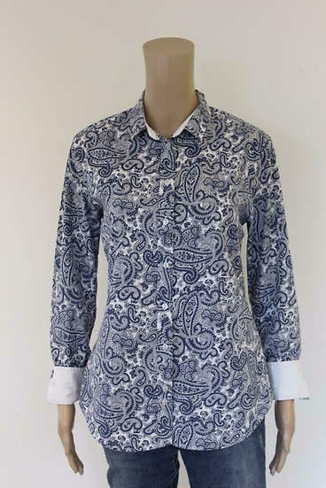 Gant - Blauw/witte blouse, maat 40