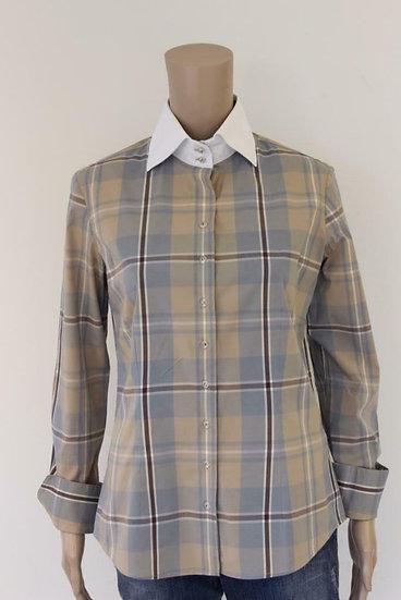 R2 Westbrook -Bruine/lichtblauwe blouse, maat 40