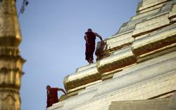 Cleaning Shwedagon