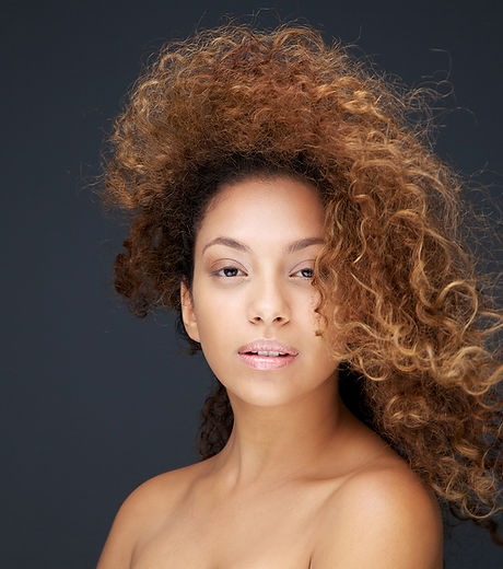 Model with Wind Swept Hair