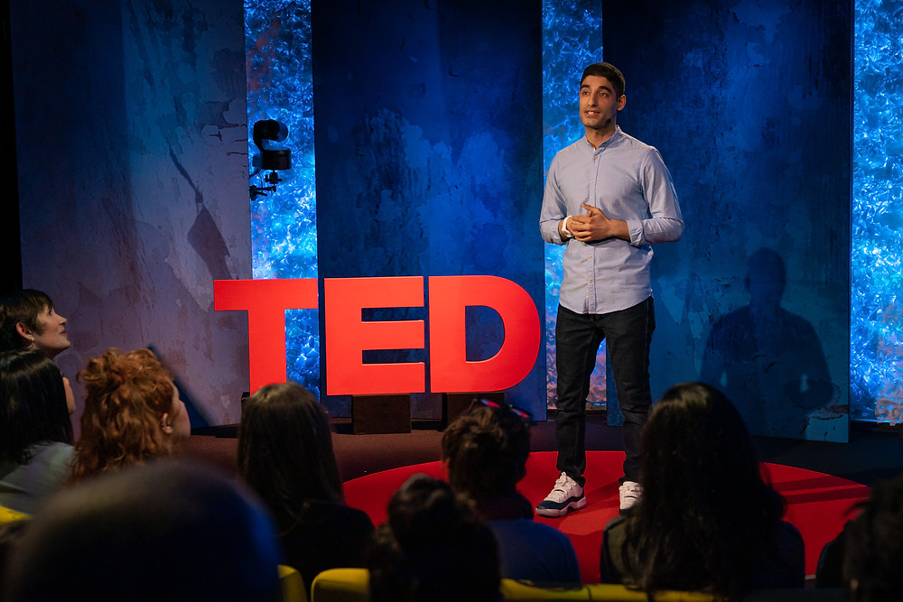 Abe's Eats founder Mohammad Modarres giving a second TED Talk