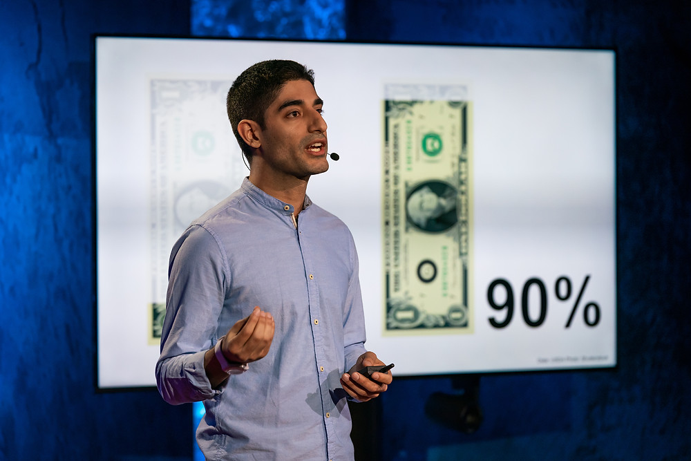 Abe's Eats founder Mohammad Modarres giving his second TED Talk