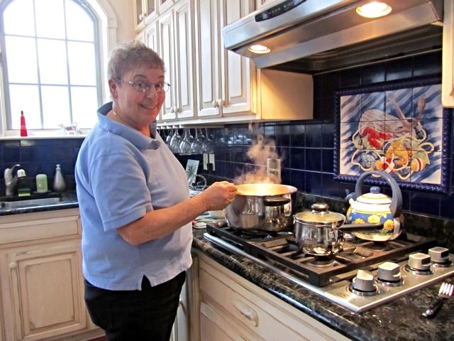 Beauport Inn B&B, Ogunquit, Maine, Ellen cooking in the kitchen