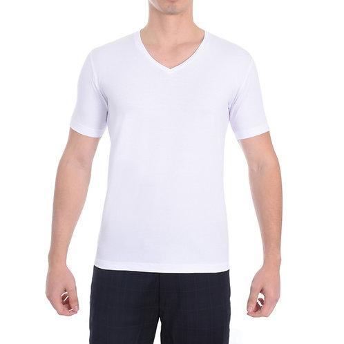 """Camiseta Gola """"V"""" 100% algodão - Lisa"""