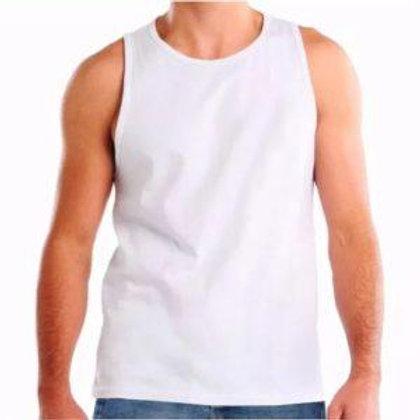 Camiseta Regata 100% Algodão, Gola Careca - lisa
