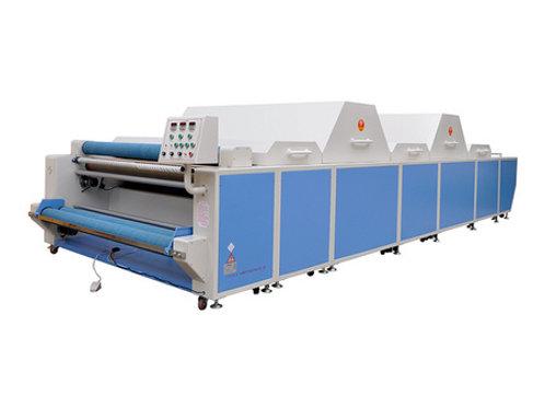 Máy xử lý co rút vải 2 buồng hơi to. 1 buồng mát, 2 buồng sấy, 1 khoang trước