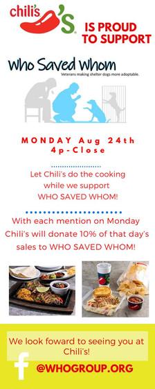 Chili's Fundraiser - Aug. 24, 2020
