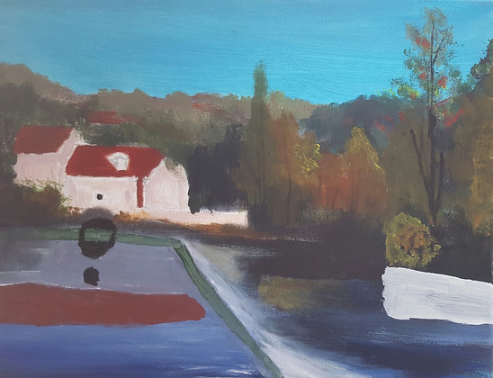 Mill on River by Michael Hudson