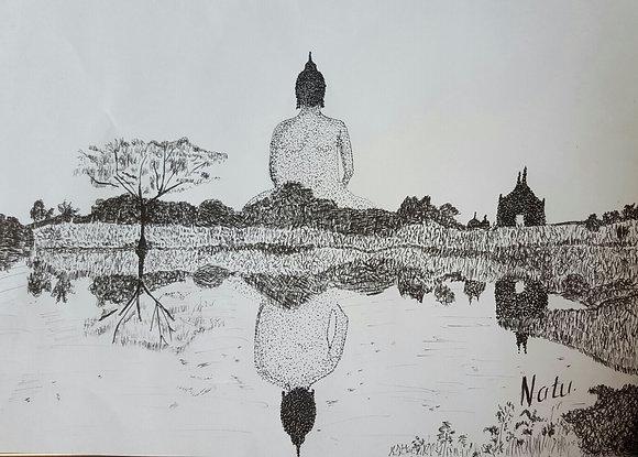 Buddha Meditating by Natu Ruparel