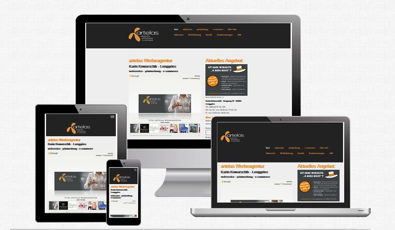 Responsives Webdesign - Beispiel der artelas Werbeagentur Webseite