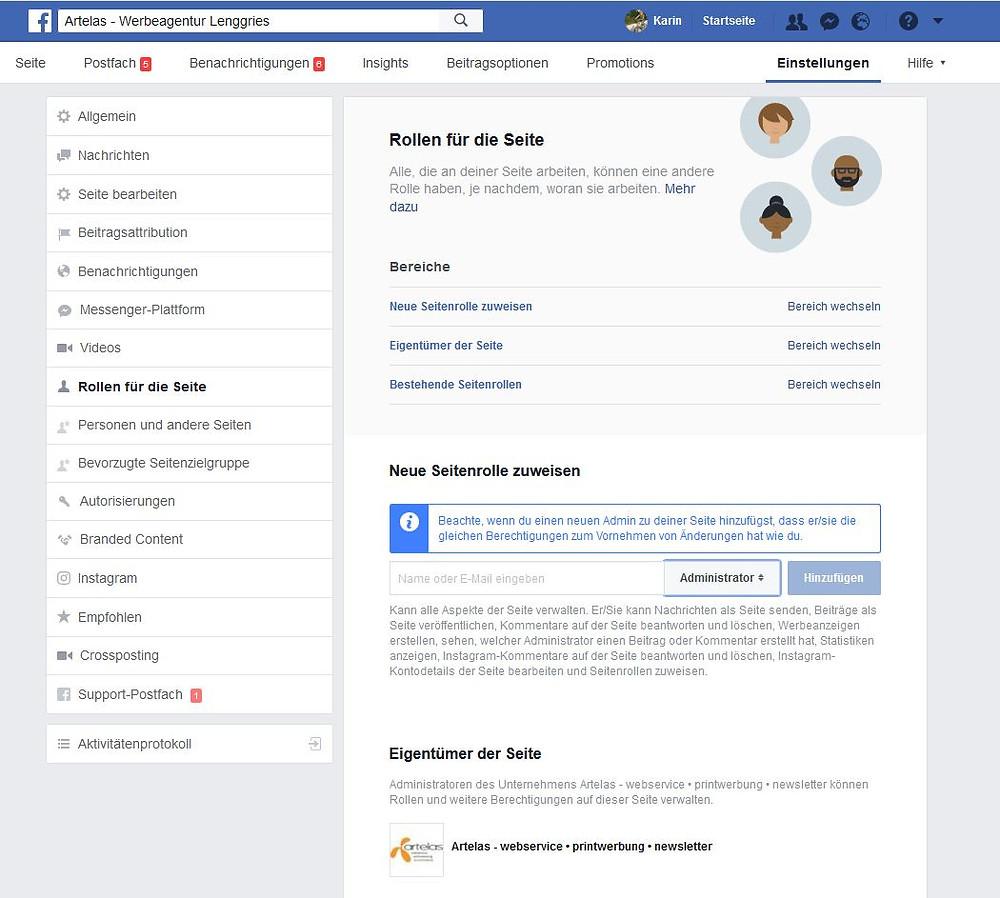 Facebook: Rollen für die Seite anlegen
