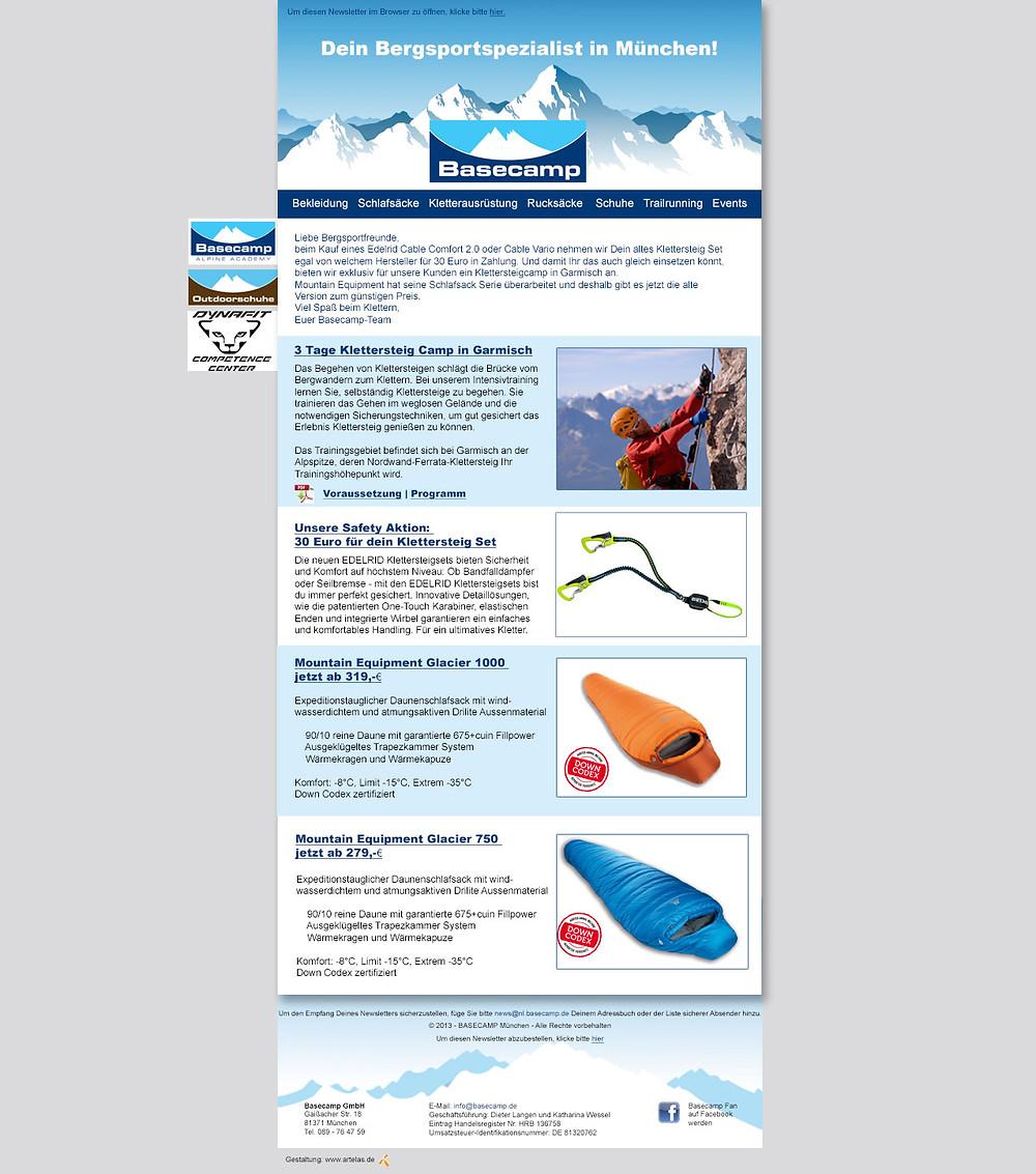 Beispiel eines Newsletters mit Link zum Impressum und Abmeldung