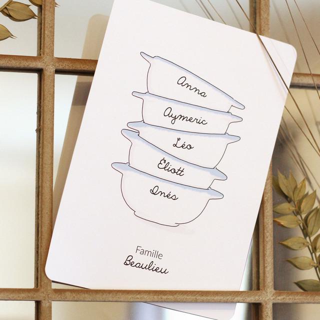 """Affichette sur mesure """"Famille de bols"""""""