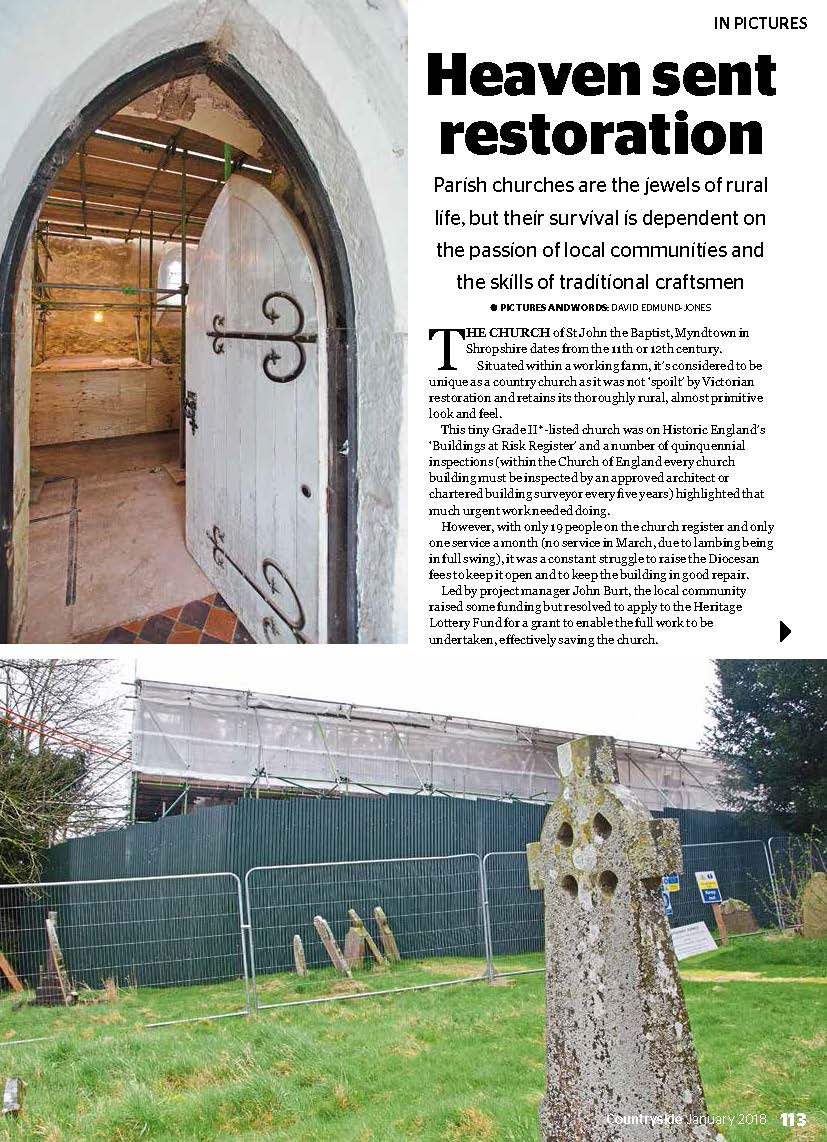 National Farmers Union Countryside Magazine article - Myndtown Church