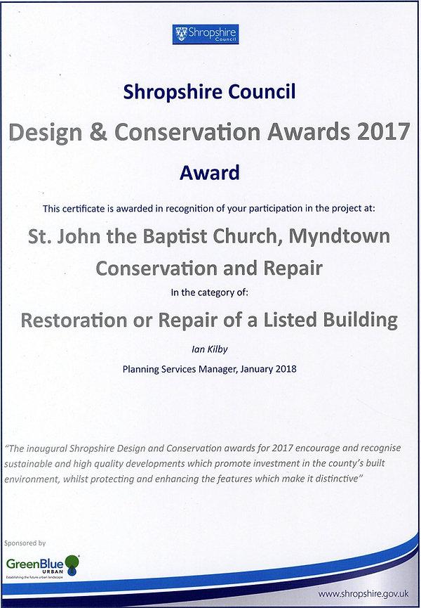 Shropshire Council Design & Conservation Award 2017