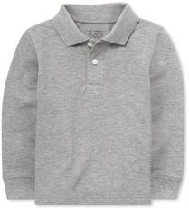 Long Sleeve Pique Polo Grey