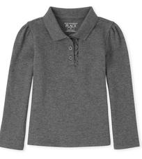 Long Sleeve Ruffle Pique Polo Gray