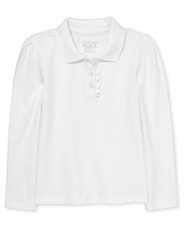Long Sleeve Ruffle Pique Polo White