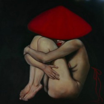 Nude Model with Red Ribbon