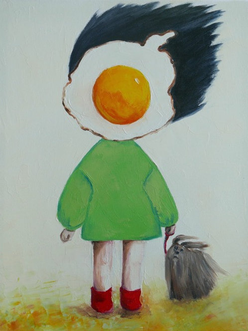 Egg Girl With Dog on a Windy Day