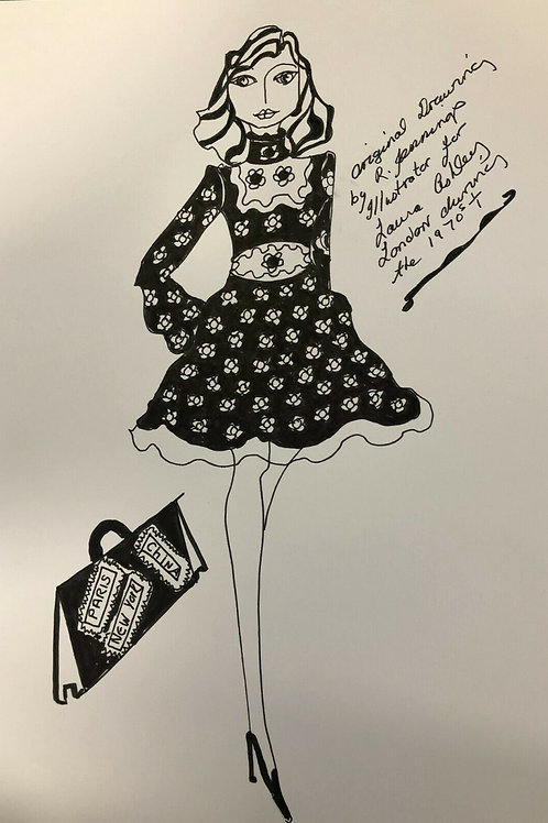 Original Fashion Drawing - Pen and Ink