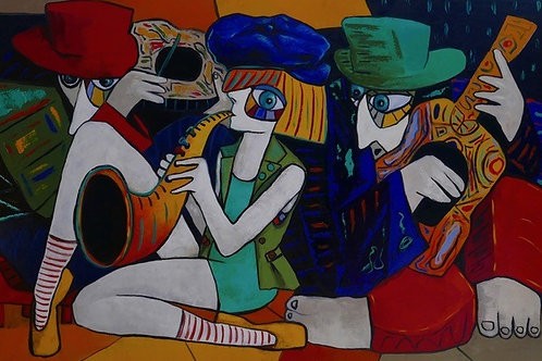 The Sax Player and Friends by Ta Thimkaeo - Oil on canvas