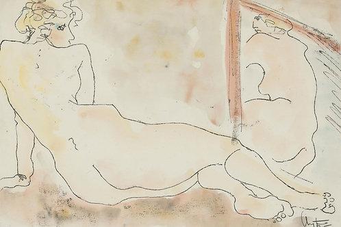 Inge Clayton FRSA (1942-2010) - 1985 Monotype, Reclining Nude Study