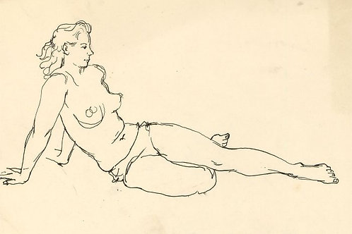 Peter Collins ARCA - 1970s Pen and Ink Drawing
