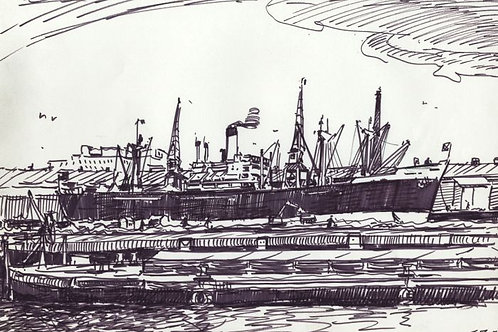 H.G. Moore - Mid 20th Century Pen and Ink Drawing, Harbour Scene